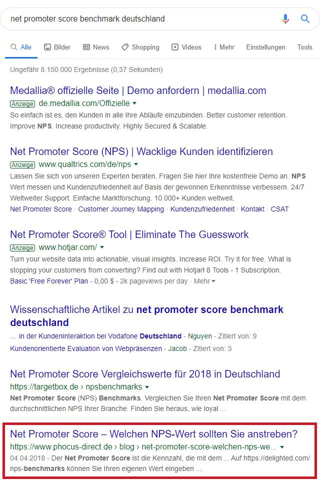 """Screenshot: Google-Suche nach """"net promoter score benchmark deutschland"""""""