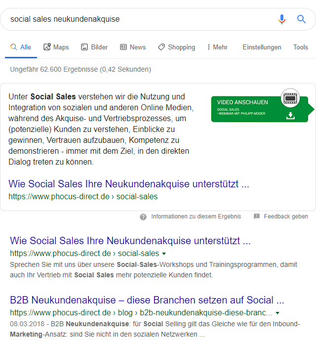 "Screenshot: Google-Suchenach ""social sales neukundenakquise"""